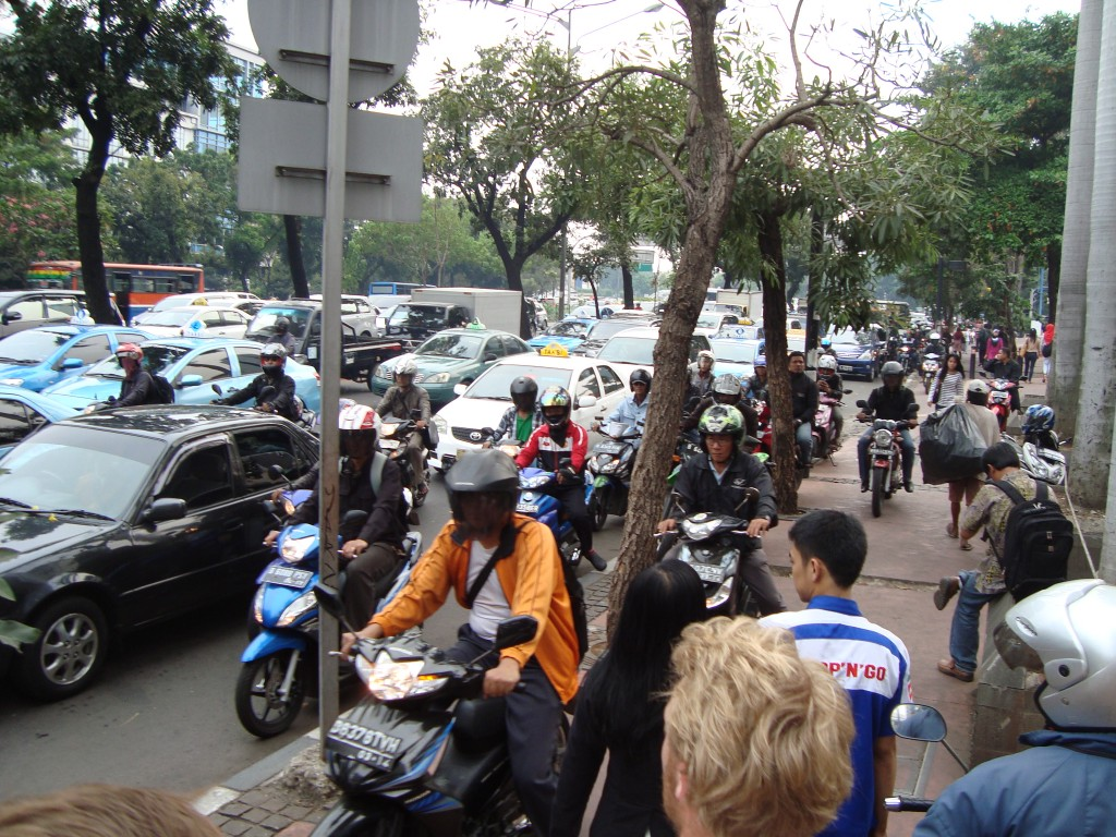 Traffic in Jakarta, picture taken by author