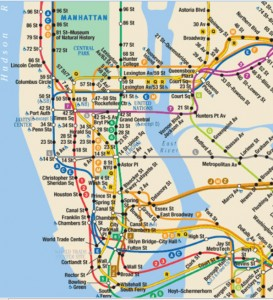Cutout of the New York City Subway system
