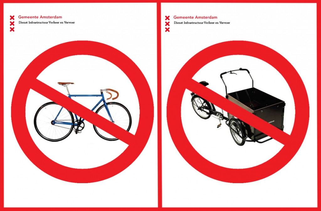 Will this mean the end of the hipster bike and the bakfiets? (combined signs of 'Gemeente Amsterdam, 2013'