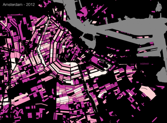 Map of AirBnb listings per block in Amsterdam. More listings = brighter color. (source: TravelNext, 2012)