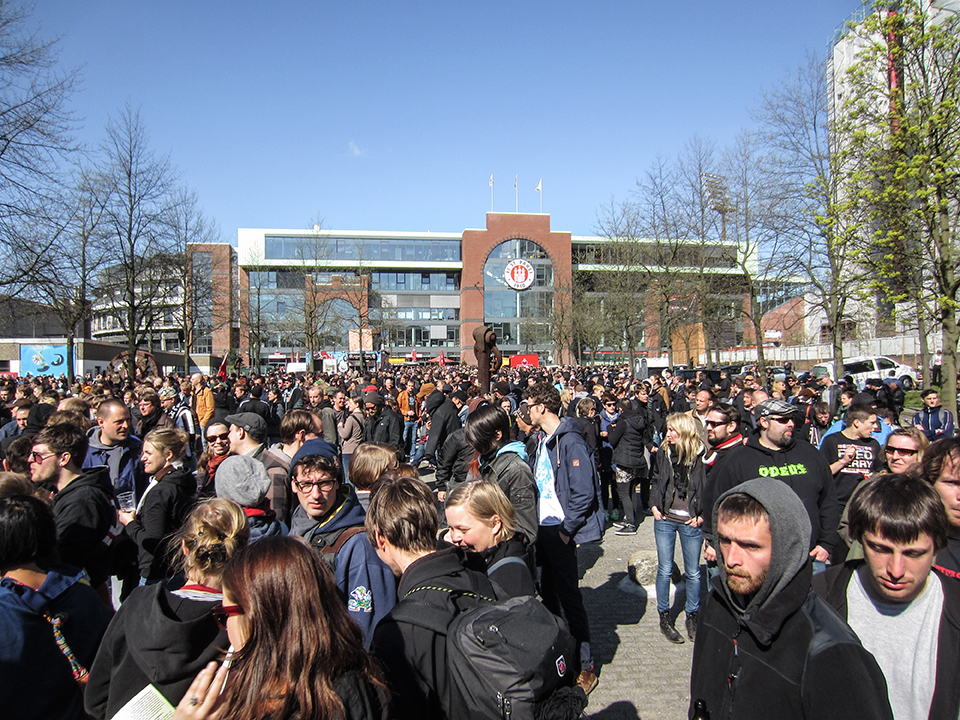 Demonstrators gather in front of FC St. Pauli´s soccer stadium