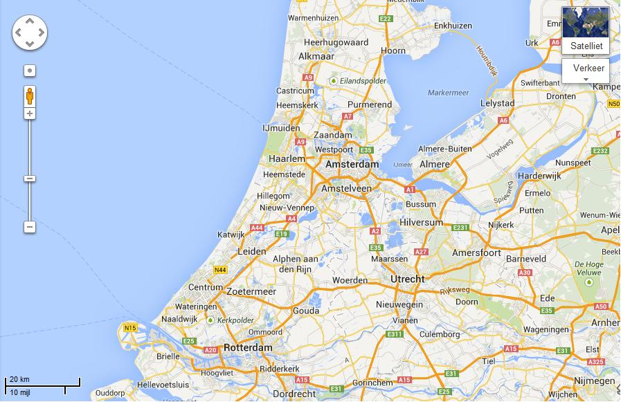 The geographical locations of Amsterdam & Rotterdam: where ships needed to go through the 'Markermeer'  (formerly 'Southern Sea') to reach Amsterdam, Rotterdam is easier accessible from the North Sea and has a fast natural connection to Germany by the big rivers. Source: Google Maps, 2013