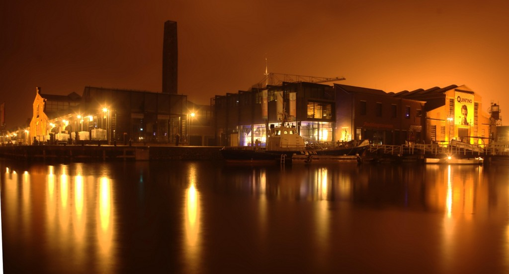 The renovated 'Willemsoord' warf at night, a place for leisure and entertainment.