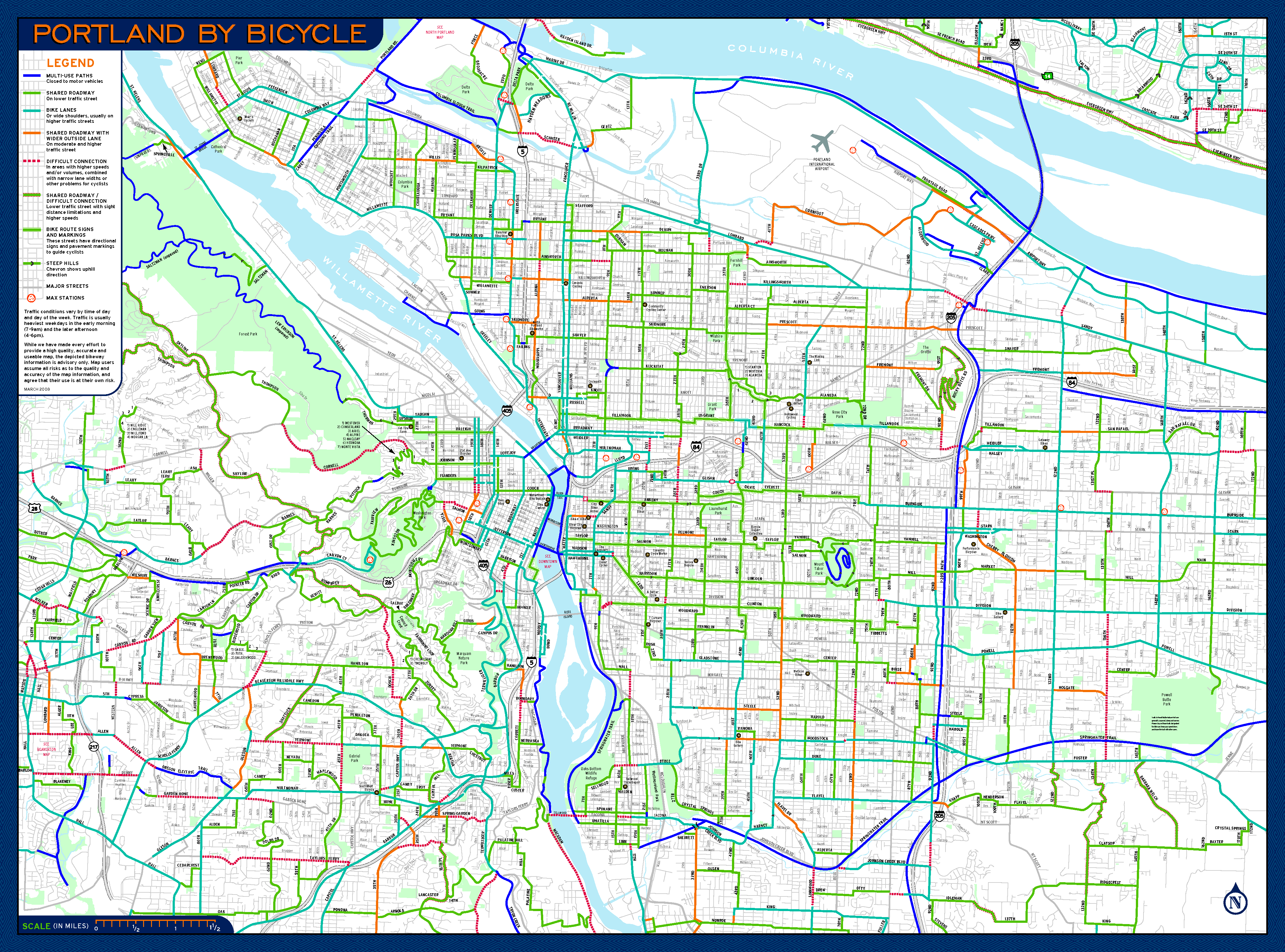 Suicide Cycling Portland – Portland Oregon Tourist Map