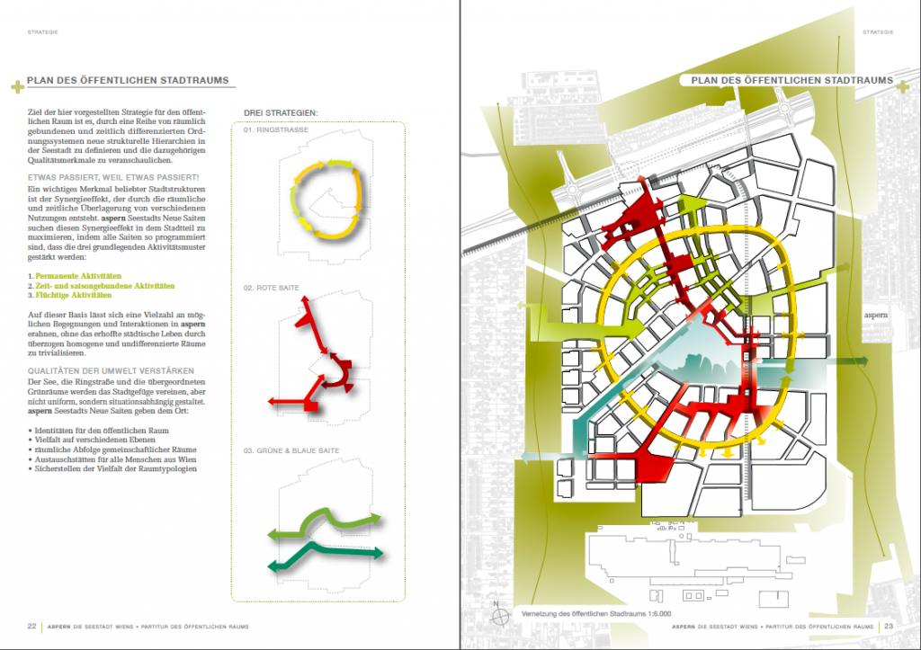 3 Types of Public Spaces in 'Seestadt Aspern' ('Partitur des öffentlichen Raums' p. 22-23)