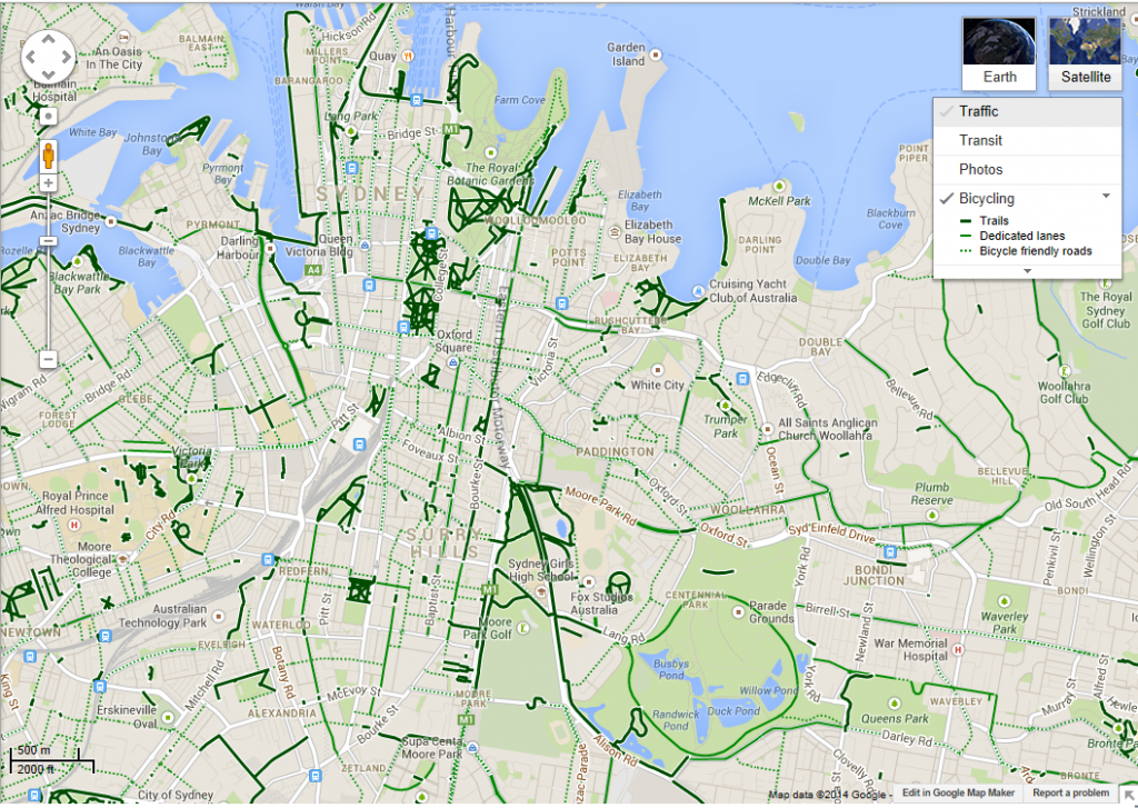 Map of Cycle Paths in Inner Sydney (Source: Google)