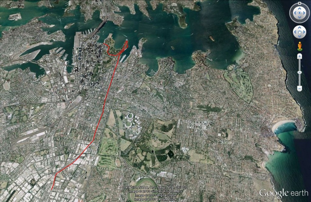 A classic Sydney bike ride? Alexandria, in the inner-city, to the edge of Sydney Harbour (Source: Google Earth)