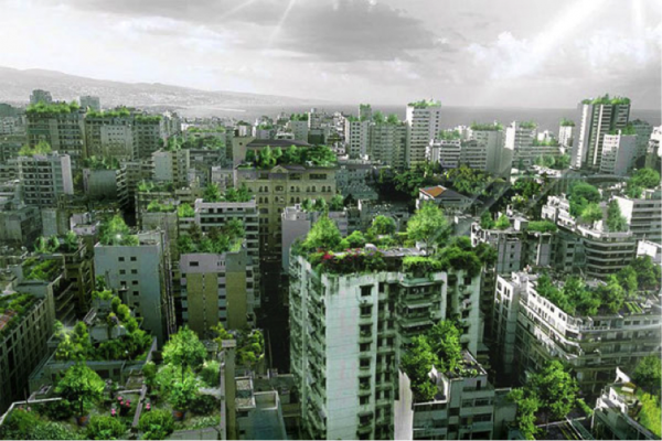 "Sky Forest"" rendering by Studio Invisible (from http://greenlichen.com/2011/12/beirut-wonder-forest-project-looks-to-make-lebanon-greener/ )"