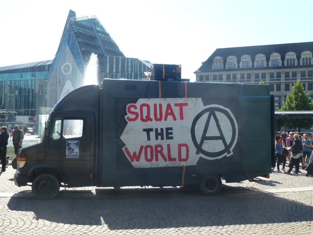 Anti-gentrification and anti-capitalist protest at Augustusplatz in Leipzig's inner city, May 2014