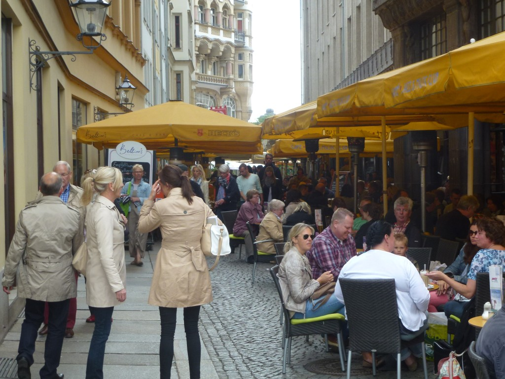 Full terraces in Leipzig's inner city streets