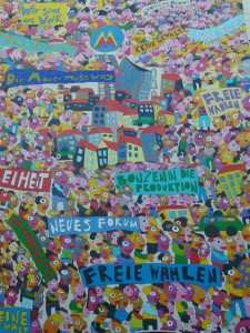 Mural reminding of the mass street protests in Leipzig in 1989, contributing to the fall of the GDR socialist regime