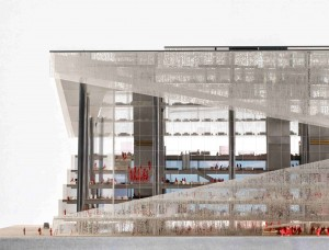 OMA's model of the Axel Springer Media Campus. (Image Courtesy of OMA)