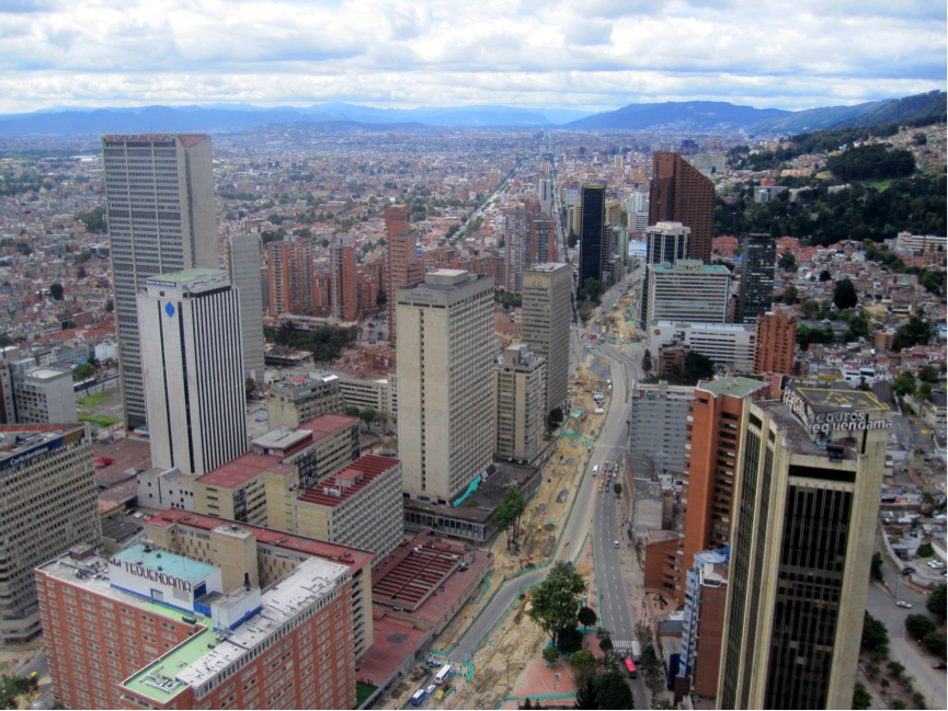A view on Bogotá, with clearly visible construction works.