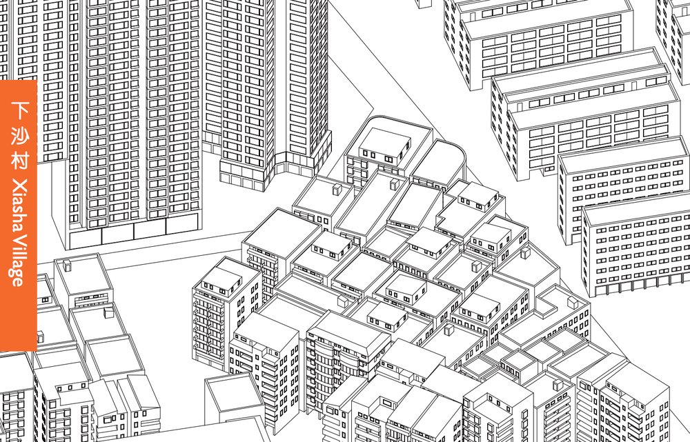 Axonometric view of building typologies in Xiasha Village (Image: Villages in the City, edited by Stefan Al)