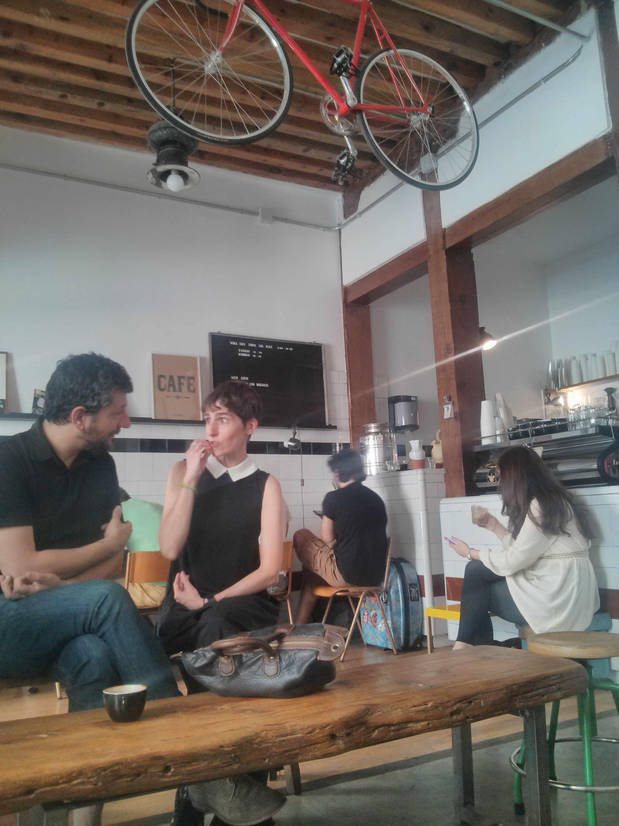 Relaxing in one of Madrid's bike cafés (Picture by Author)