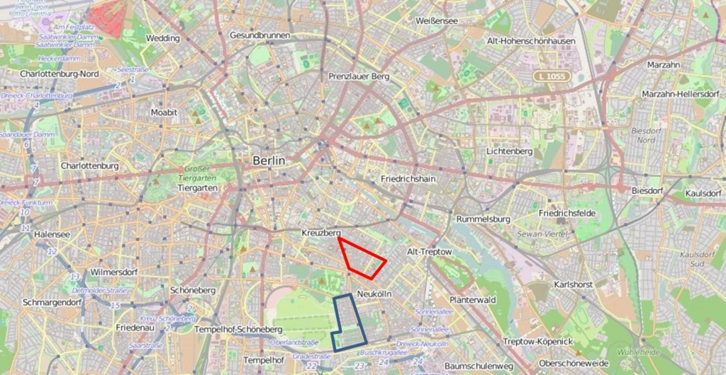 Map of Berlin. Reuterquartier in red, Schillerpromenade in blue. Source: OpenStreetMap