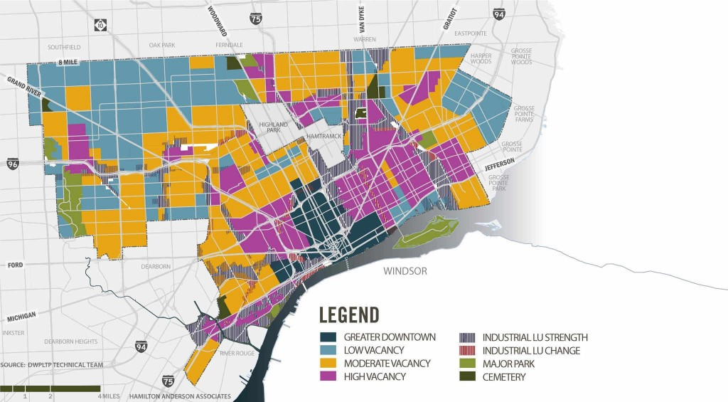 Map of Detroit showing the spatial mismatch between the population and location of jobs (Source: Detroit Works)