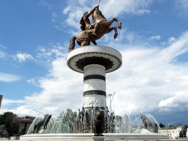 The 33m high Statue of Alexander the Great in Skopje. Photo Sinisa Jakov Marusic – Balkan Insight