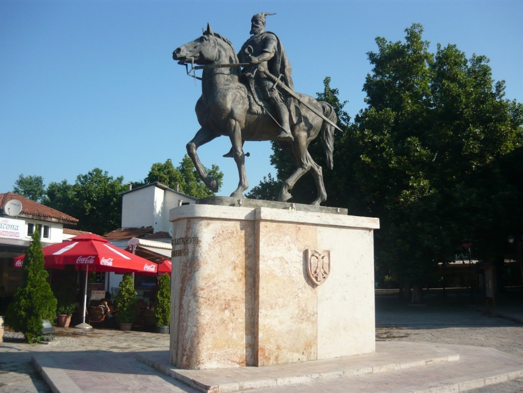 Statue of Skanderbeg, Albanian national hero, in Skopje