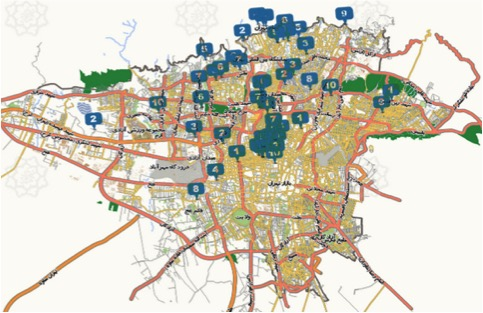 the spatial distribution of coffee shops in Tehran