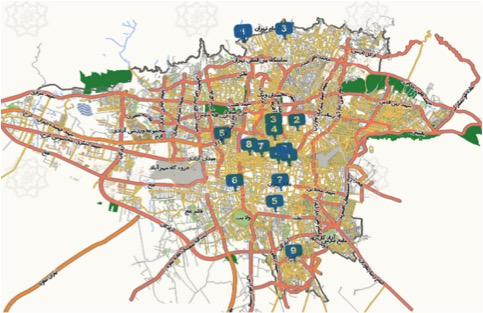 the spatial distribution of tea houses in Tehran