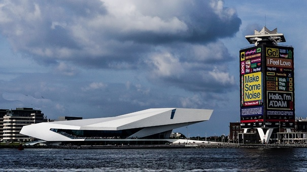 Film museum EYE and the A'DAM tower, seen from the southside of the IJ. Credits: Tina Monumentalia, Creative Commons. Taken in May 2014.