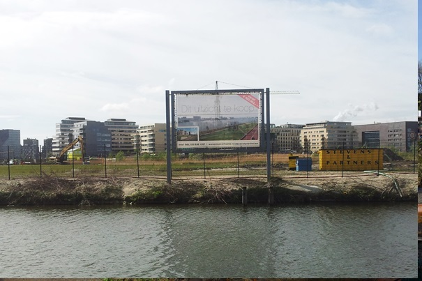 "Urban renewal seen as progress (Overhoeks condominium development). Sign reads: ""This view is for sale"". Credits: Thijs Olthof, taken in April 2014."