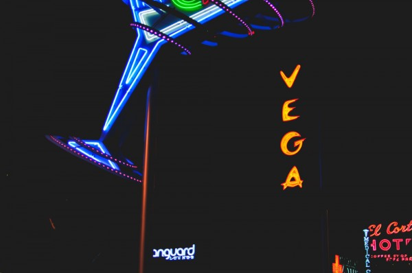 Martini-shaped neon on Fremont Street East (Photo: Adam Nowek)