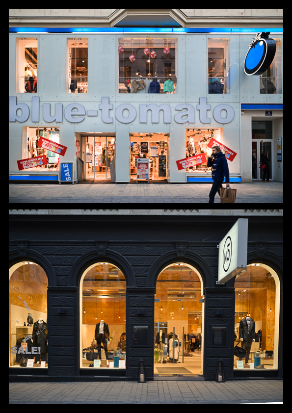 New and old shop fronts, side by side (picture by Cedric Mayer).
