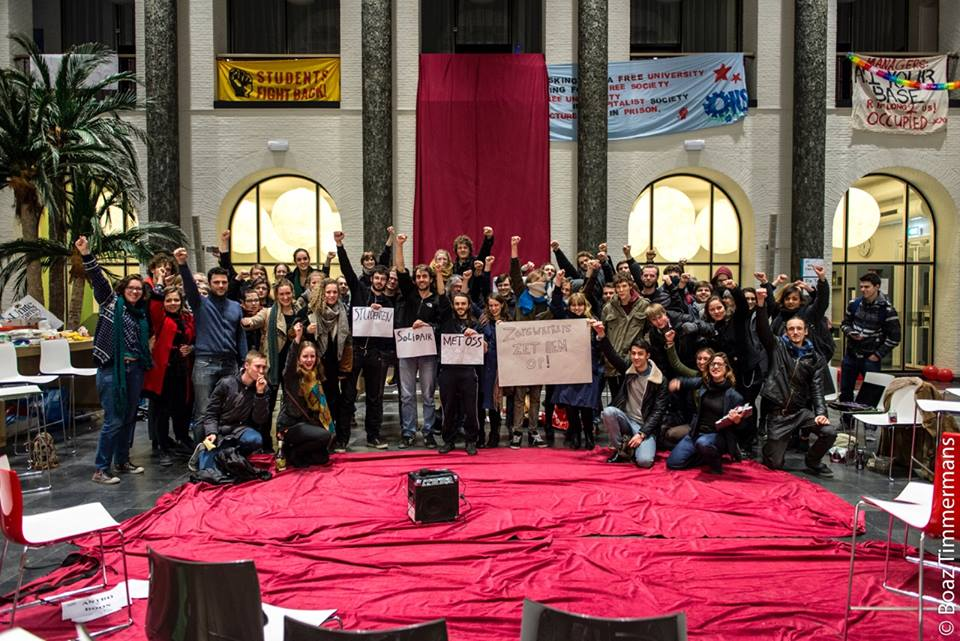 The occupied Maagdenhuis. (picture from https://www.facebook.com/pages/De-Nieuwe-Universiteit-voor-een-democratische-universiteit/364554890370545?fref=ts)