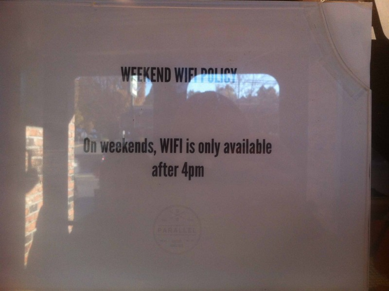 Weekend means family-time. And thus, only Wi-Fi after 4 PM.  (Photo: Wietze Gelmers, Vancouver)