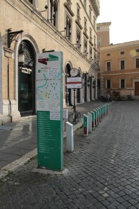 The deserted stalls of the Roma Bike Sharing program (Picture by Erik van Rijn, 2015)