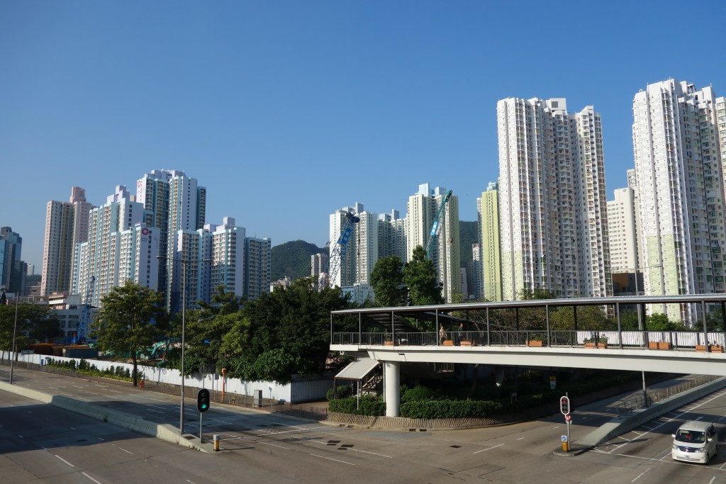 A typical cluster of high-rise public housing estates in Kowloon, November 2014. Photo by Michael Stuart-Fox.