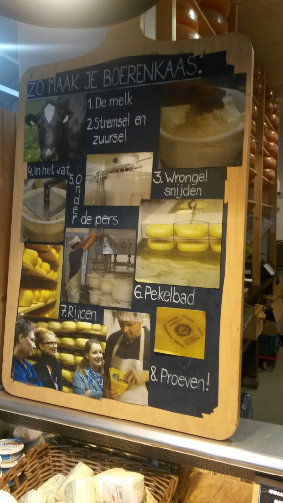blackboard in the Landmarkt about how to make 'Boerenkaas' (Source: Rosanne Nieuwesteeg, 2015)