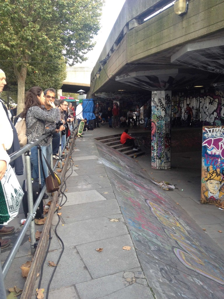 Since the introduction of railing several years ago, the Undercroft has become a 'stage' where skateboarders 'perform' for passerby's. (Source: Katherine VanHoose)