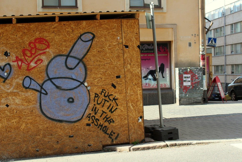 Although hip new bars and restaurants have opened on Vaasankatu over the past few years, sex shops and striptease joints persist. Along with graffiti.