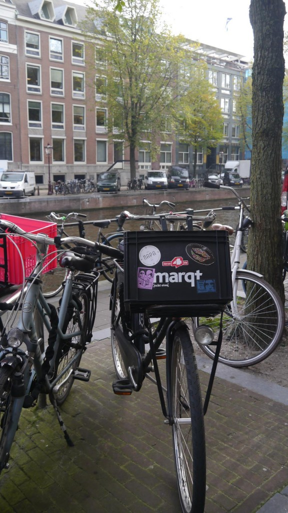 The ubiquitous mart bike box, a common sight in the hipper neighborhoods of Amsterdam. (picture by author)