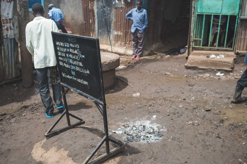 A bar advertises its football offerings in Soweto East, Nairobi (Photo: Adam Nowek)