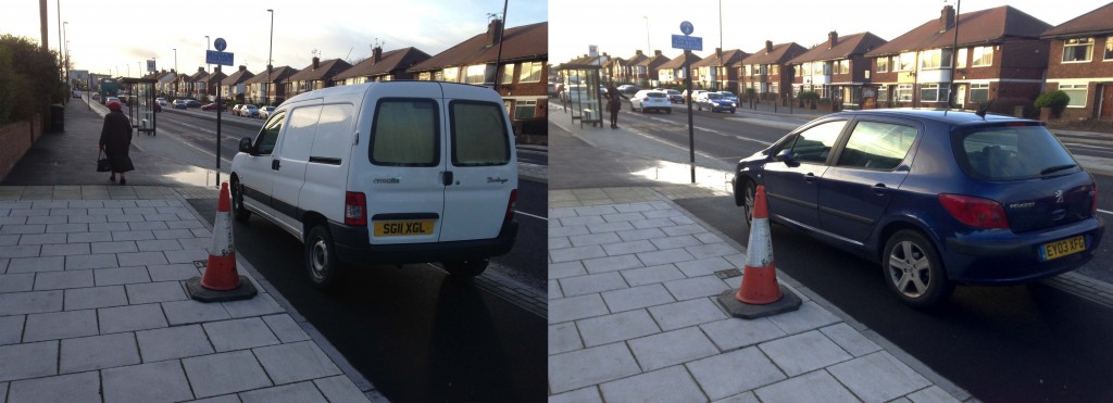 Parked cars on a newly constructed cycle lane in Newcastle (Pictures by author)