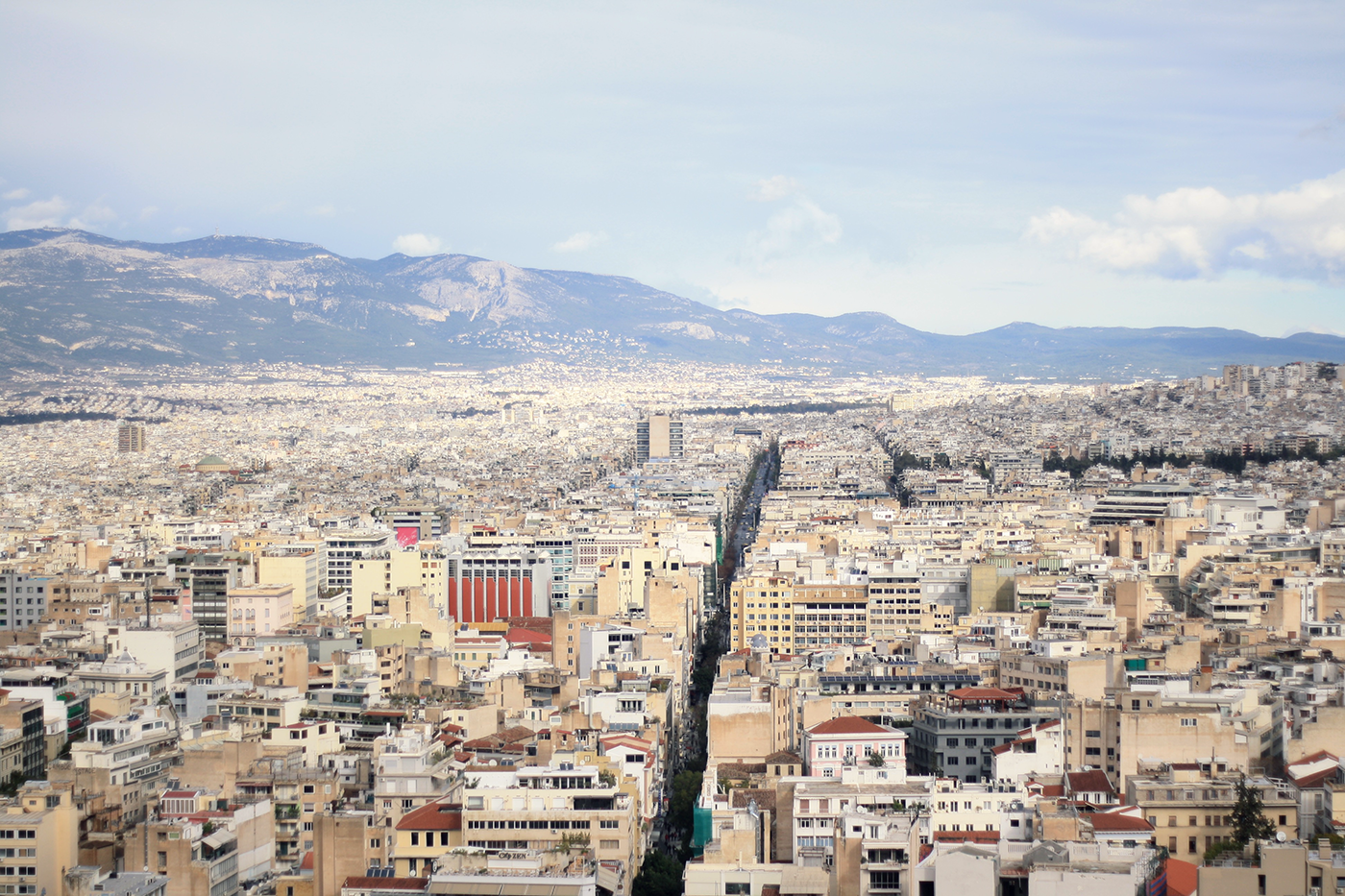View over the dense inner-city districts of Athens