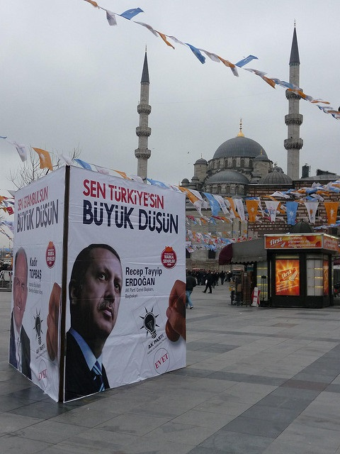 Poster promoting Erdogan and the AKP: Yeni Camii