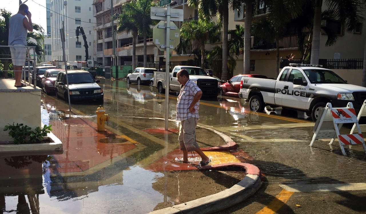 Typical flooding in Miami Beach. (Photo courtesy The Miami Herald)