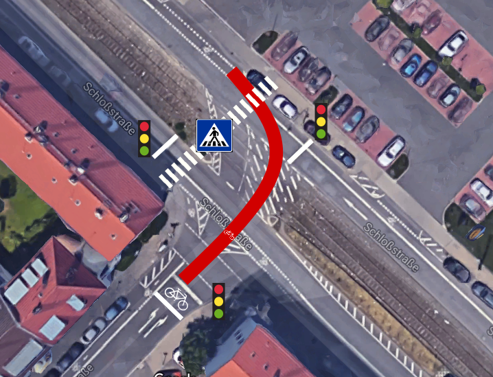 The infantile, silly, home made illustration of the more secure zebra crossing for pedestrians (own illustration)