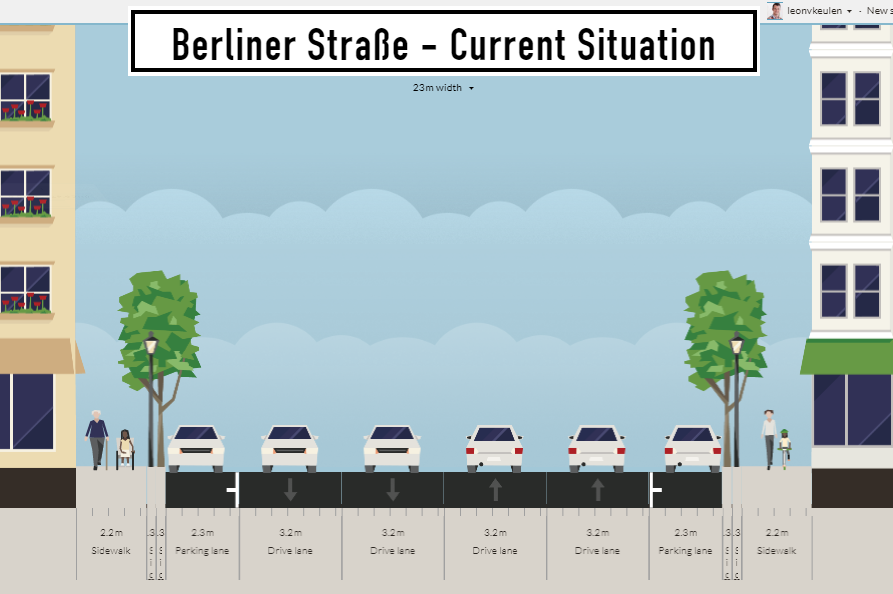Berliner Straße - Current Situation (made by the help of Restreet:App)