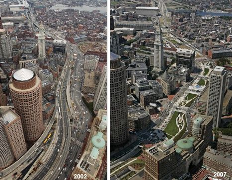 Before and after shots of the Central Artery and today's Rose Kennedy Greenway (Boston cyclists union, Casey and a brief history of highways in Boston, 17.01.2012)