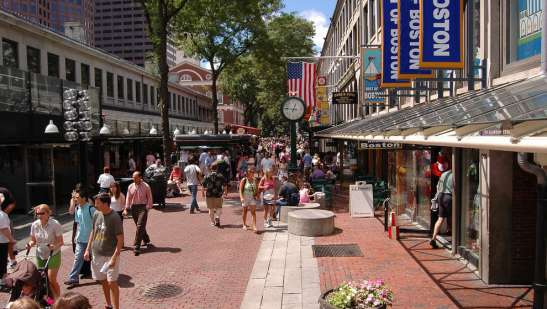 Scene along the pedestrian walkways next to Faneuil Hall Marketplace (Photo: Lord and Taylor, http://www.10best.com/destinations/massachusetts/boston/)