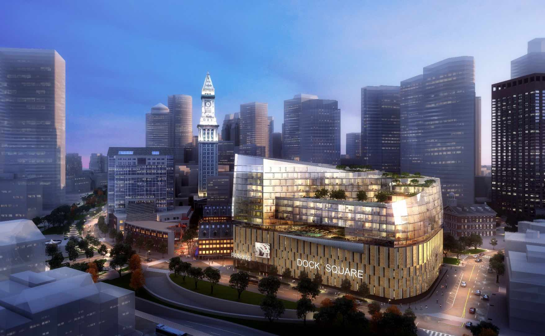 Fortis Property Group plans a 10-storey, 253,000-square-foot spiral-shaped addition atop an existing garage: Dock Square Garage project, 20 Clinton Street, Bulfinch Triangle, Boston (BLDUP/15.02.2018)
